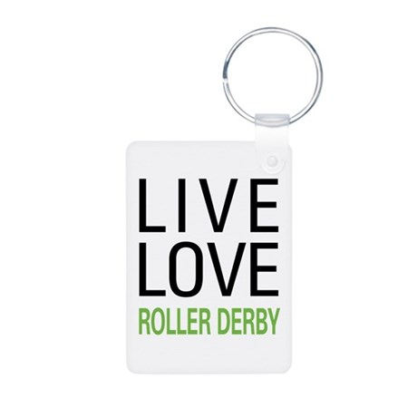 Live Love Roller Derby Aluminum Photo Keychain