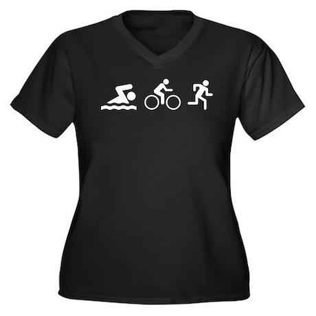 Triathlon Women's Plus Size V-Neck Dark T-Shirt