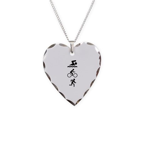 Triathlete Necklace Heart Charm