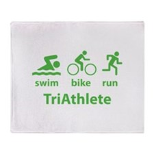 Swim Bike Run TriAthlete Throw Blanket
