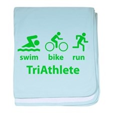 Swim Bike Run TriAthlete baby blanket