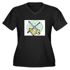 Sword Women's Plus Size V-Neck Dark T-Shirt