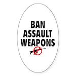 BAN ASSAULT WEAPONS Sticker (Oval 50 pk)