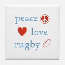 Peace Love Rugby Tile Coaster