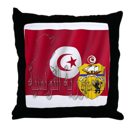 Silky Flag Tunisia/Arab Throw Pillow