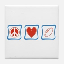 Peace Love Football Tile Coaster