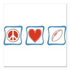 "Peace Love Football Square Car Magnet 3"" x 3"""