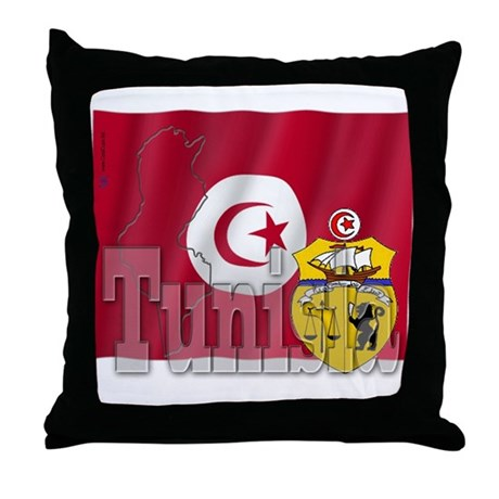 Silky Flag of Tunisia Throw Pillow