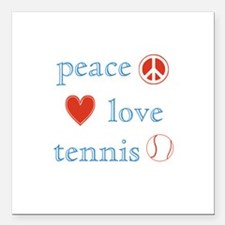 "Peace Love Tennis Square Car Magnet 3"" x 3"""