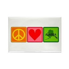 Peace Love Alaska Rectangle Magnet