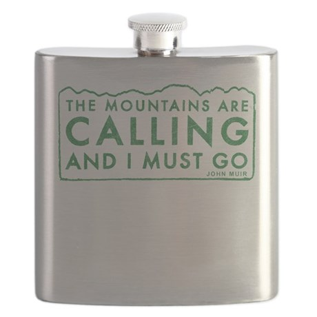 John Muir Mountains Calling Flask