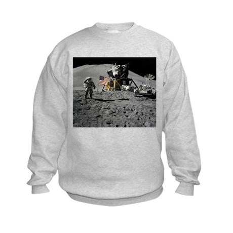 Apollo Moon Flag Salute USA Kids Sweatshirt