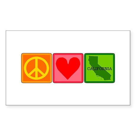 Peace Love California Sticker (Rectangle)