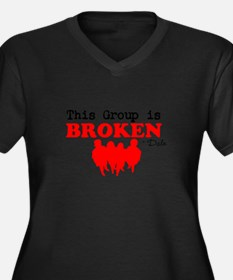 Broken Women's Plus Size V-Neck Dark T-Shirt