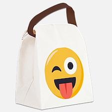 Winky Tongue Emoji Canvas Lunch Bag