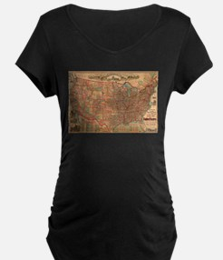Vintage United States Map (1883) Maternity T-Shirt