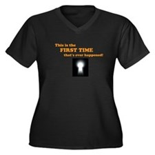 First Time Women's Plus Size V-Neck Dark T-Shirt