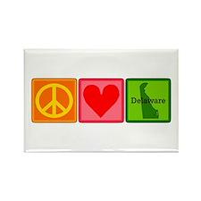 Peace Love Delaware Rectangle Magnet