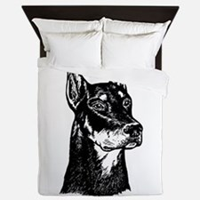 DOBERMAN HEAD Queen Duvet