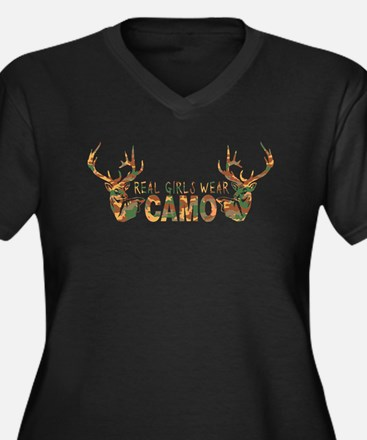REAL GIRLS WEAR CAMO Women's Plus Size V-Neck Dark