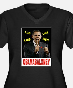 OBAMA BALONEY Women's Plus Size V-Neck Dark T-Shir