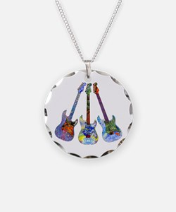 Wild Guitar Necklace Circle Charm