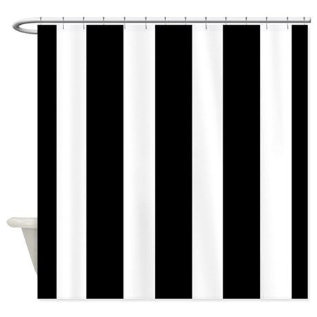 Striking Black And White Stripe Shower Curtain By Iretro