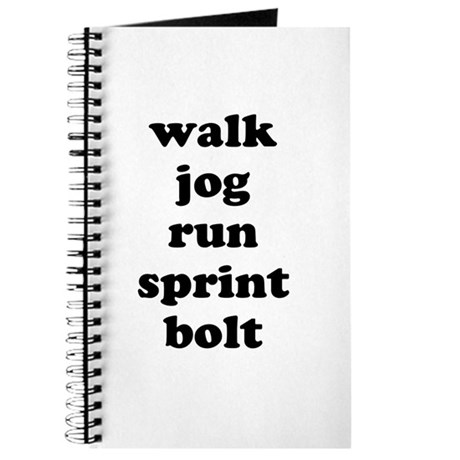walk jog run sprint bolt text Journal