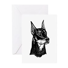 DOBERMAN HEAD Greeting Cards (Pk of 10)