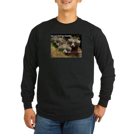 Anti-Fur Raccoon Dog pups Long Sleeve Dark T-Shirt