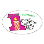 1st Birthday Oval Sticker