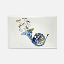 Wild French Horn Rectangle Magnet