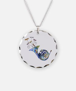 Wild French Horn Necklace Circle Charm