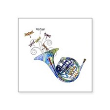 """Wild French Horn Square Sticker 3"""" x 3"""""""
