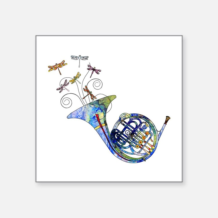 "Wild French Horn Square Sticker 3"" x 3"""