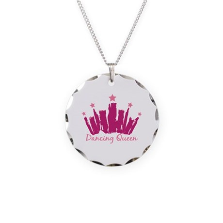 Dancing Queen Crown Necklace Circle Charm