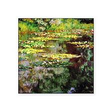 "Monet Sea Rose Pond Square Sticker 3"" x 3"""