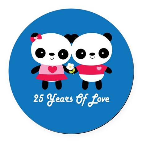 25th Anniversary Panda Couple Round Car Magnet