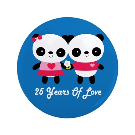 """25th Anniversary Panda Couple 3.5"""" Button"""