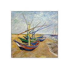 "Van Gogh Fishing Boats Square Sticker 3"" x 3"""