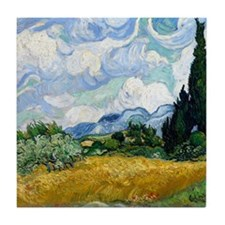 Van Gogh Wheat Field With Cypresses Tile Coaster