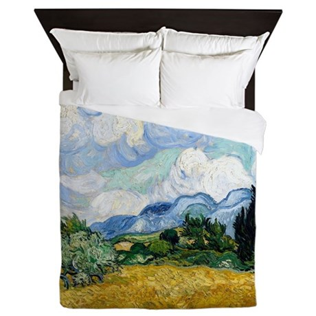 Van Gogh Wheat Field With Cypresses Queen Duvet