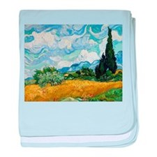 Van Gogh Wheat Field With Cypresses baby blanket