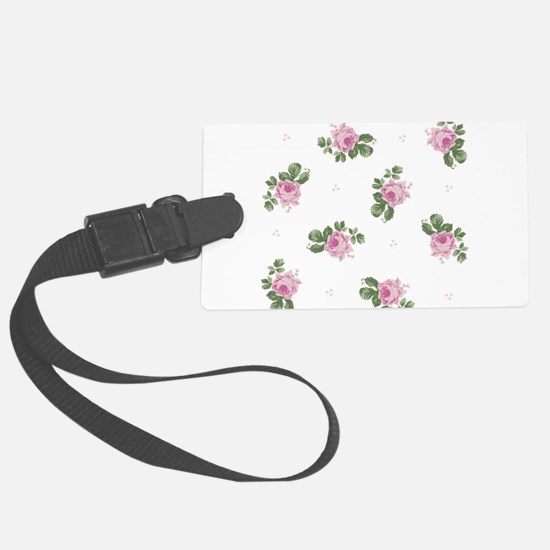 Pink Roses Floral Pattern Large Luggage Tag