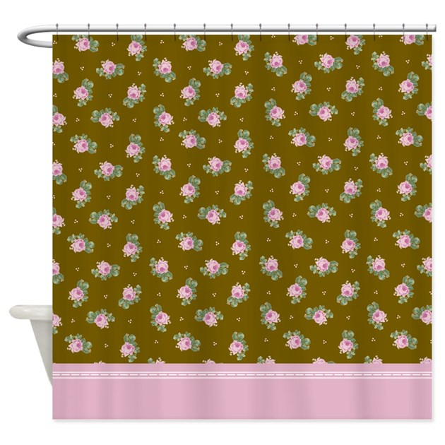 brown and pink roses floral pattern shower curtain by inspirationzstore. Black Bedroom Furniture Sets. Home Design Ideas