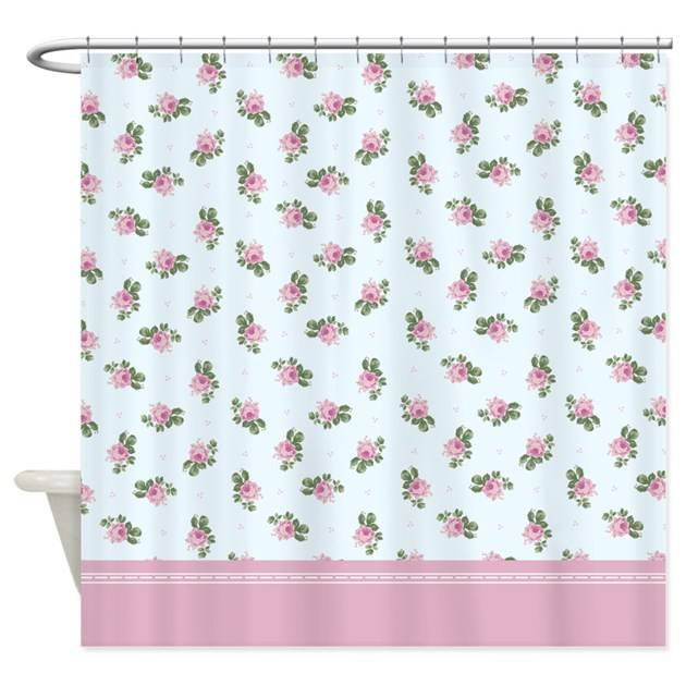 Pastel Blue And Pink Floral Pattern Shower Curtain By InspirationzStore