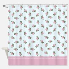 Pastel Blue and Pink Floral Pattern Shower Curtain