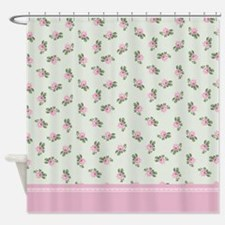 Pink Roses Floral Pattern Shower Curtain