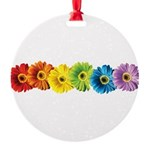 pop-daisy-rainbow.png Round Ornament