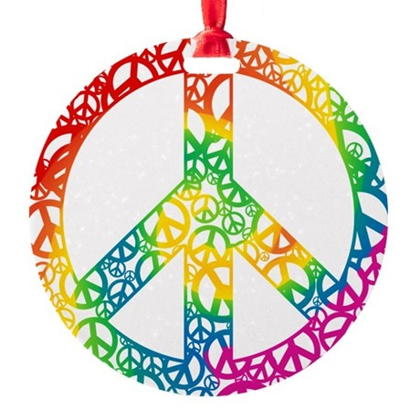 peace-peace-rainbow.png Round Ornament